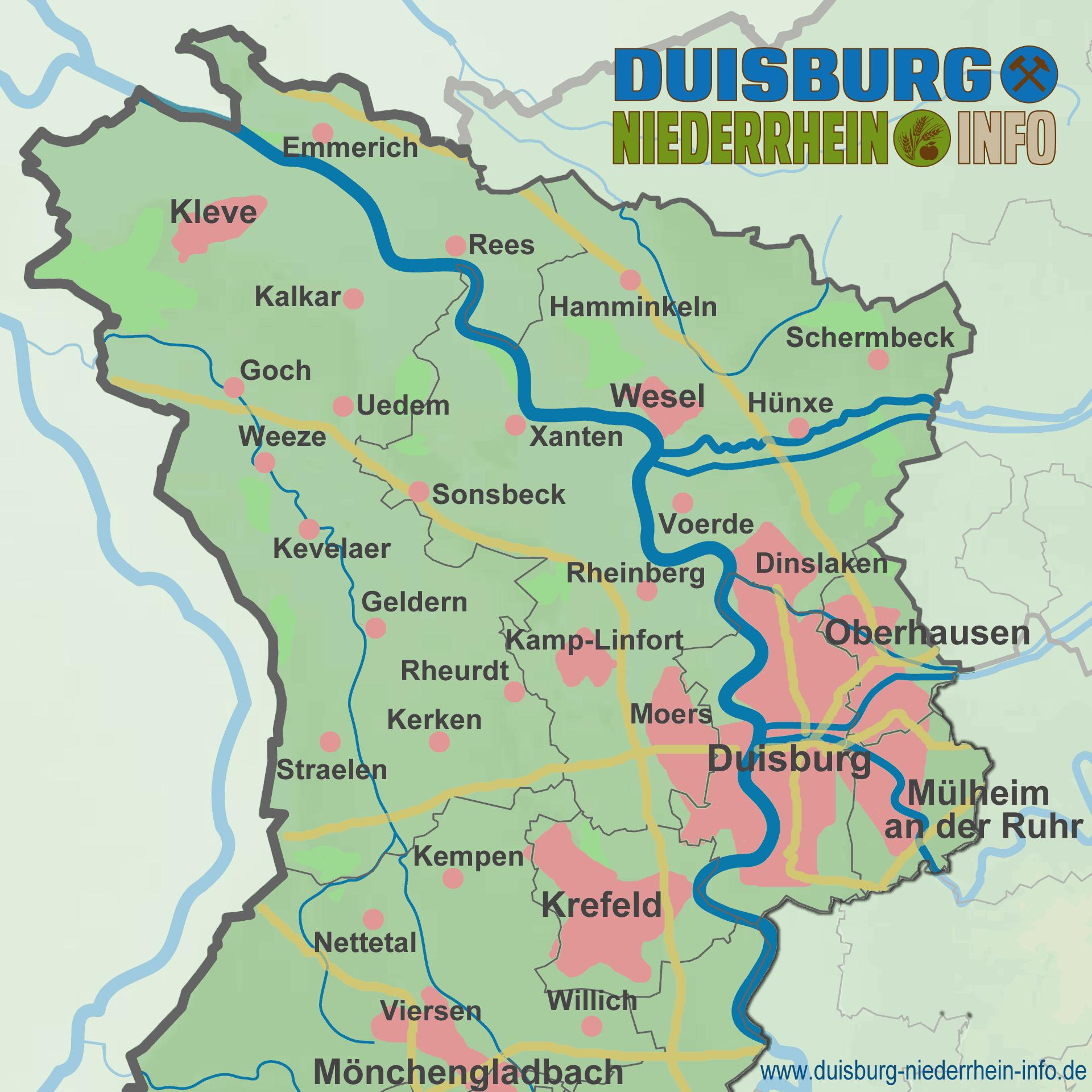 Karte Niederrhein.Niederrhein Abgrenzung Duisburg Niederrhein Info